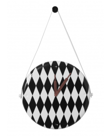 BLACK AND WHITE DIAMOND PATTERN HORAMUR WALL CLOCK DESIGNED BY JAIME HAYON