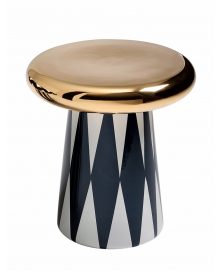 JAIME HAYON T-TABLE D5, BLACK AND WHITE DIAMOND PATTERN AND GOLD TOP