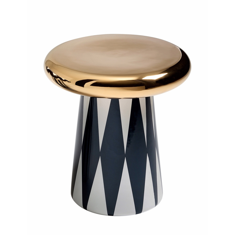 JAIME HAYON T-TABLE, BLACK AND WHITE DIAMOND PATTERN AND GOLD TOP