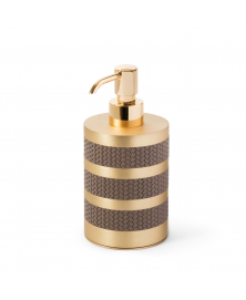SATURNO LEATHER & SATIN BRASS SOAP DISPENSER