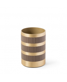 SATURNO LEATHER & SATIN BRASS TOOTHBRUSH HOLDER