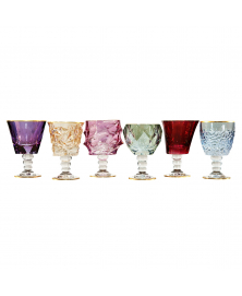 SET OF SIX MULTICOLOR GOBLETS