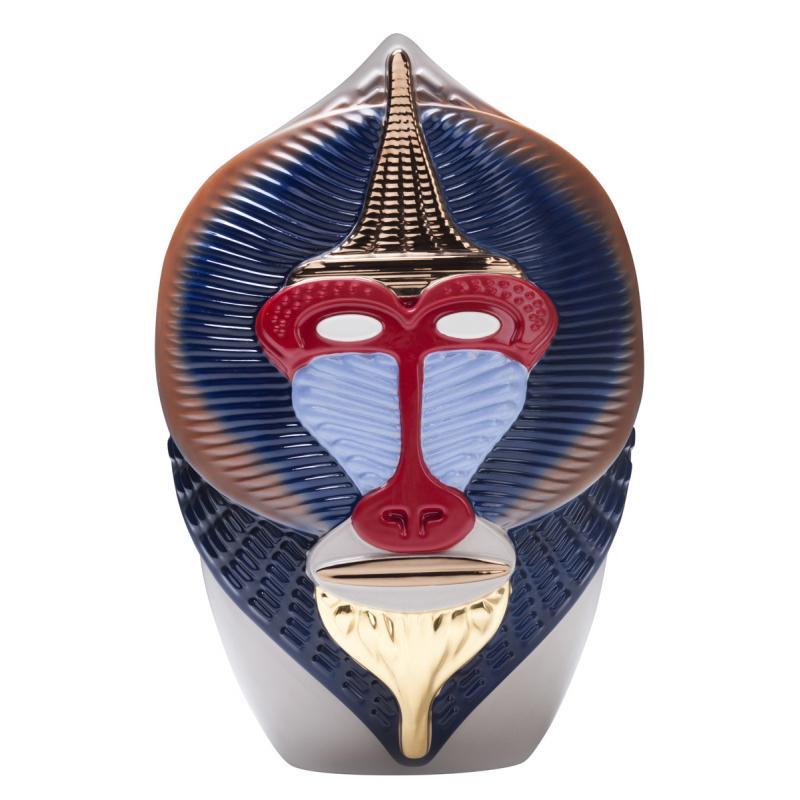 Primates Cashmere Blue Mandrillus Vase  by Elena Salmistraro