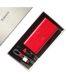 RED LEATHER WIRELESS POWER BANK