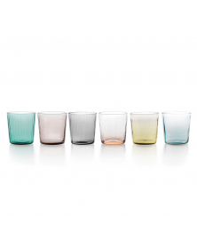 SET OF 6 PLISSÉ MULTICOLOR LOWBALL GLASSES