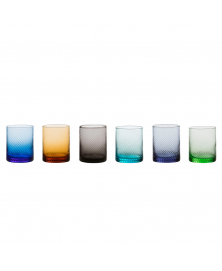 SET OF 6 GRITTI MULTICOLOR LOWBALL GLASSES