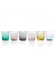 SET OF 6 PURO LOWBALL GLASSES ASSORTED COLORS