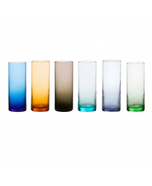 SET OF 6 GRITTI MULTICOLOR HIGHBALL GLASSES