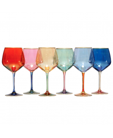 SET OF 6 ARLECCHINO MULTICOLOR WINE GLASSES
