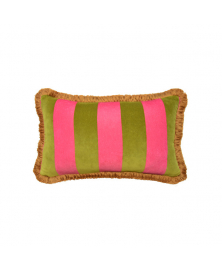 VELVET OLIVE & PINK STRIPED THROW PILLOW