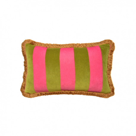 OLIVE GREEN AND PINK STRIPED VELVET PILLOW