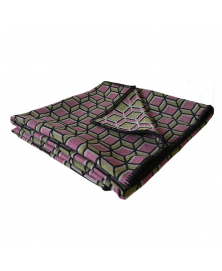 GEOMETRIC PINK AND OLIVE THROW BLANKET