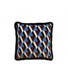 GEOMETRIC BLUE AND BROWN ACCENT PILLOW