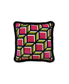 GEOMETRIC PINK & OLIVE ACCENT PILLOW