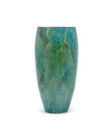 MARMO GREEN TALL VASE WITH GOLD DETAILS