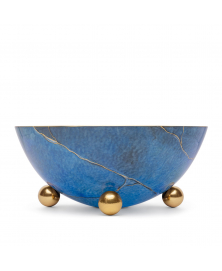 MARMO ROUND BOWL WITH GOLDEN BALL STANDS