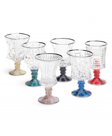 SET OF SIX MARMO ASSORTED GOBLETS WITH PLATINUM RIM