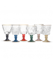 SET OF SIX MARMO ASSORTED GOBLETS WITH GOLDEN RIM