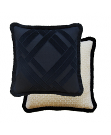 TEXTURED AND LINED BLACK AND WHITE PILLOW
