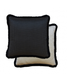 DOTTED BLACK AND WHITE ACCENT PILLOW
