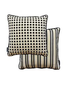 GEOMETRIC BLACK AND WHITE VELVET PILLOW