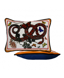 ORANGE VELVET SNAKE AND BUTTERFLY ACCENT PILLOW