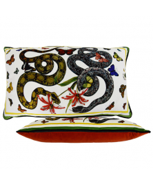 LARGE VELVET SNAKE AND BUTTERFLY ACCENT PILLOW