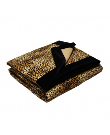 BABY LEOPARD AND BEIGE QUILT BLANKET WITH BLACK TRIM