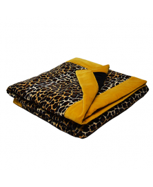 BOLD LEOPARD QUILT BLANKET WITH YELLOW TRIM