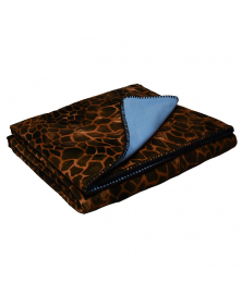 CONTRAST PRINTED QUILT BLANKET, GIRAFFE PATTERN AND BLUE