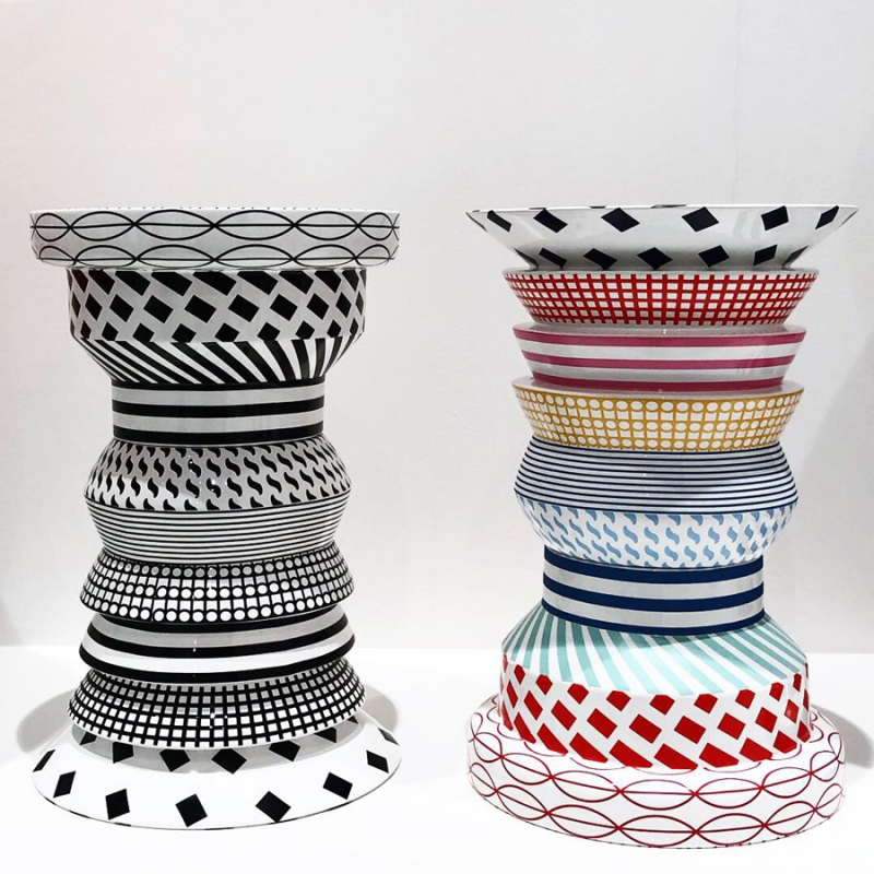 TWO REGINA SIDE TABLES - IN BLACK AND WHITE AND MULTICOLOR