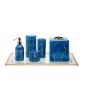 BLUE MARMO GLASS BATH SET