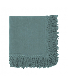 Sage Green Linen Napkin with Long Fringes