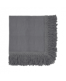 Once Milano Charcoal Linen Napkin with Long Fringes