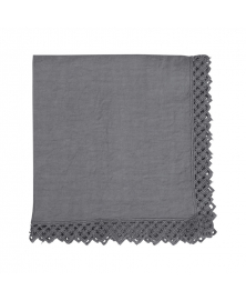 Once Milano Charcoal Linen Napkin with Macramé