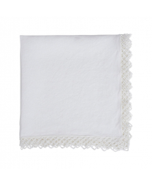 Once Milano White Linen Napkin with Macramé