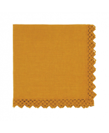 Once Milano Mustard Yellow Linen Napkin with Macramé
