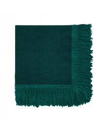 Once Milano Forest Green Linen Napkin with Long Fringes
