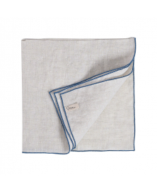 Set of 4 White Linen Napkins with Blue Hem