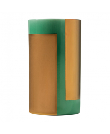 Roller Vase in Emerald Green & Gold Finish