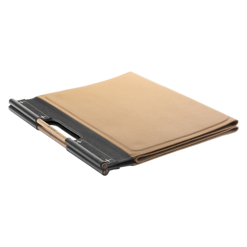 MATA Large Folded,  Luxury Fitness Mat in Beige Leather with Black Details