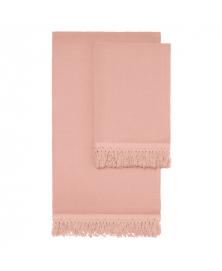 Once Milano Long Fringe Towel Set in Pale Pink
