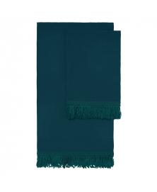 Once Milano Long Fringe Linen Towel Set in Forest Green