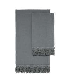 Once Milano Charcoal Linen Towels with Long Fringe