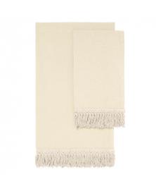 LONG FRINGE OFF-WHITE LINEN TOWEL SET