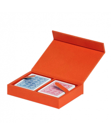 PINETTI LUXURY ORANGE LEATHER PLAYING CARDS HOLDER