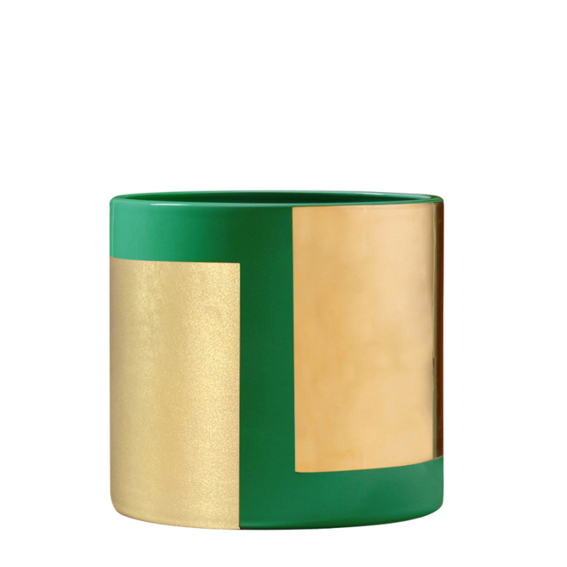 True Green and Gold Roller Vase by BOSA