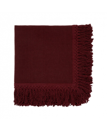 Once Milano Wine Red Linen Napkin with Long Fringes
